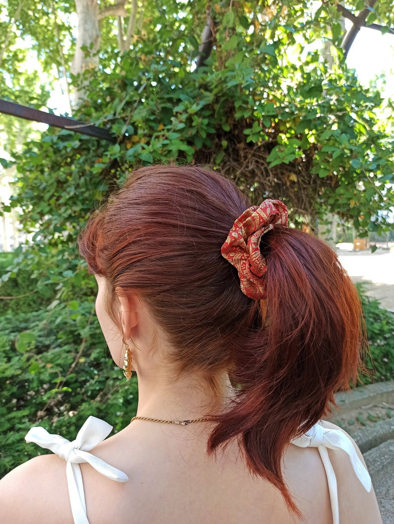 Scrunchie wild silk asia embroided gold and red