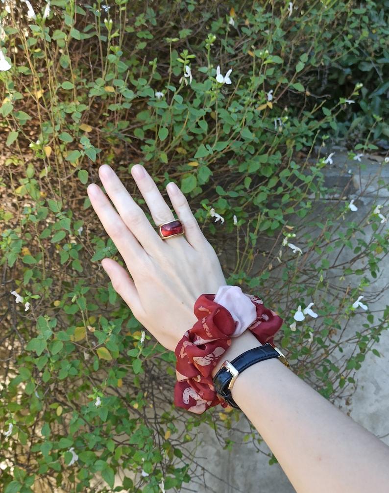 Scrunchie vintage silk hand painted abstract pattern burgundy