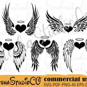 wings cricut files svg SALE eps Angel wings svg cut files png Angel wings clipart files dxf ST96 heaven silhouette