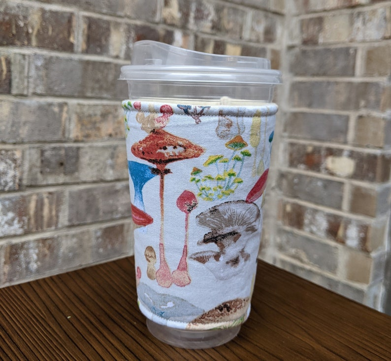 Watercolor Mushroom Iced Coffee Cozy Insulated Cup Sleeve image 0