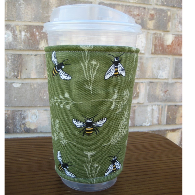 Honey Bees Iced Coffee cozy Insulated Cup sleeve 24oz Iced image 0