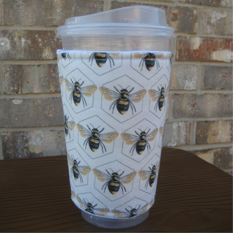 Honey Bees Iced Coffee Cozy Bee Insulated Cup Sleeve 24oz image 0