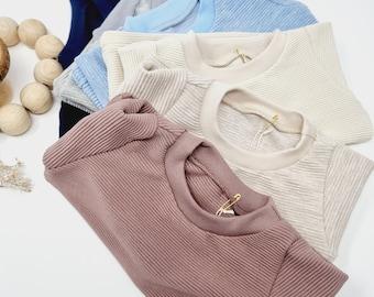 Baby Sweatpullover, Sweater, Shirt aus Ripp Jersey in verschiedenen Farben und Größen