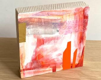 Original illustration on wood, abstract
