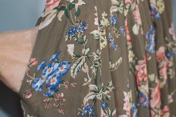 70s brown floral maxi skirt S autumn womenswear