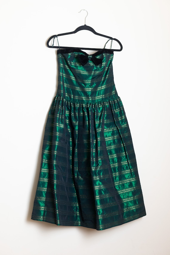 Vintage Green and Gold Striped Dress