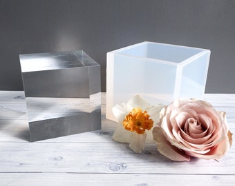 """4""""x4""""x4"""" Clear Silicone Cube Mold / Deep Silicone Mold / Resin / Soap Loaf Mold / Concrete"""