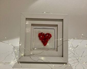 Fused Glass handmade framed heart