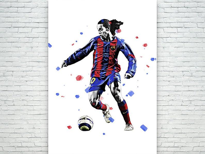 Kids Decor Fan Art Poster Ronaldinho Soccer Poster Frame poster Man Cave Gift Sports Art Print Canvas Print