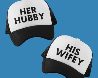 Wifey and Hubby Trucker Hat Set Set of 2 Wifey and Hubby Hat Matching Couple Hat Glitter Trucker Hat Matching Couple Trucker Hat