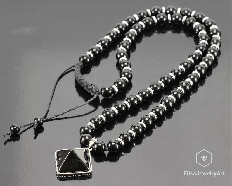 Natural Onyx Pendant Black Onyx Hematite Boho Long Necklace Mala Yoga Beaded Prayer Mothers Day Gift Gift For Her Gift For Him