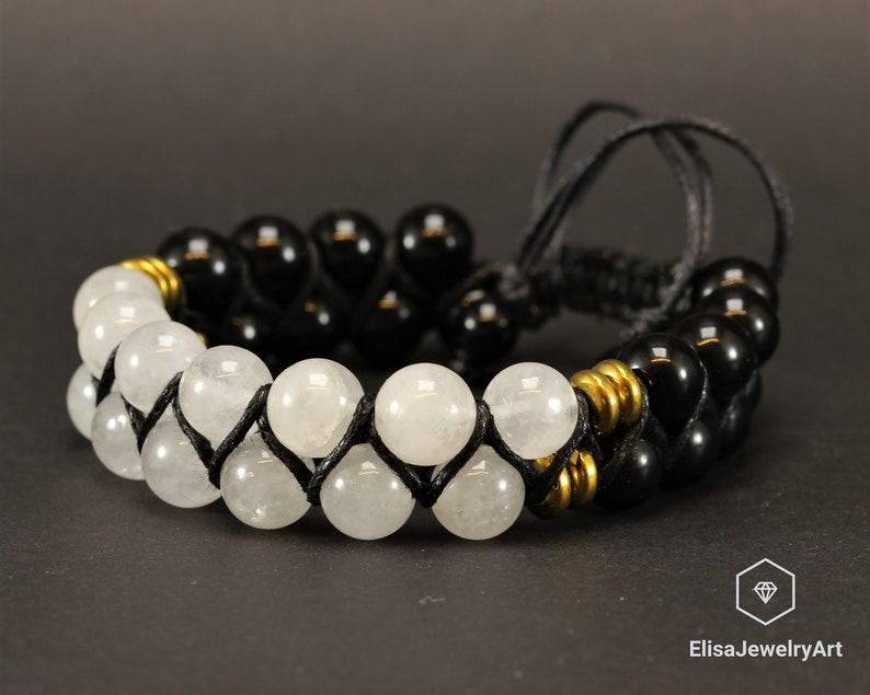 Natural Selenite Black Onyx Beaded Adjustable Bracelet Macrame Protection Yoga Mala Men/'s Bracelet Women/'s Bracelet Crystal Bracelet