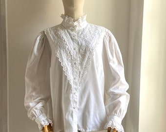 VINTAGE 70/'S Delicate Things Lace Ruffle Blouse