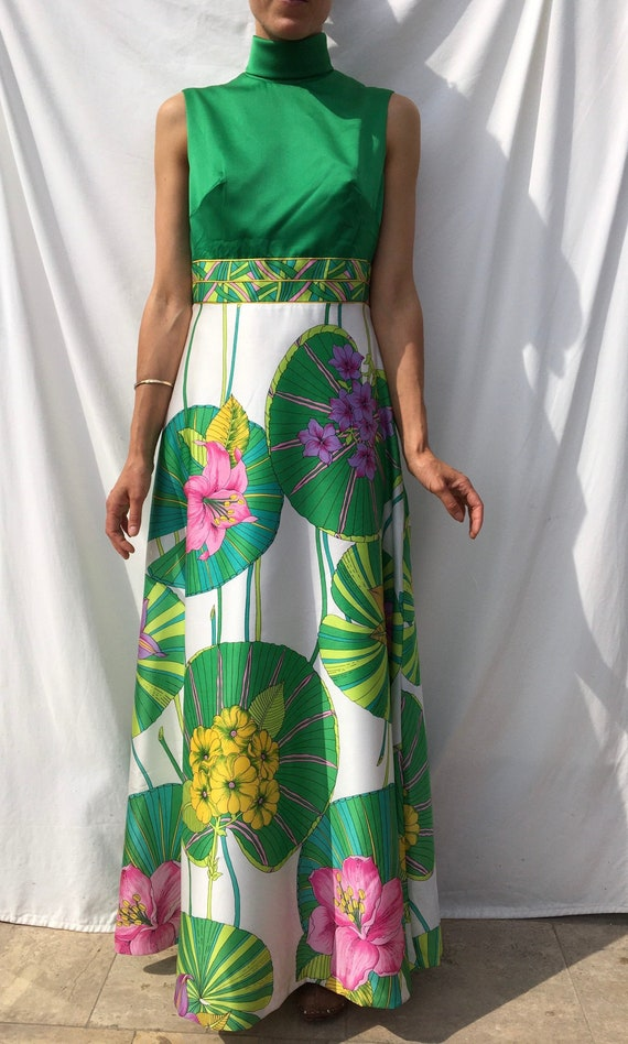 Vintage 1970s dress gown, green floral ball gown,