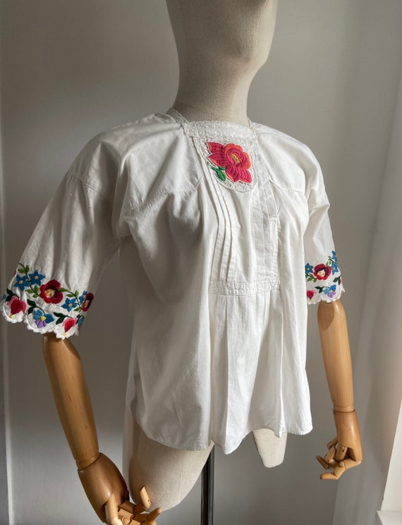 Vintage Hungarian hand embroidered folk blouse, A… - image 8