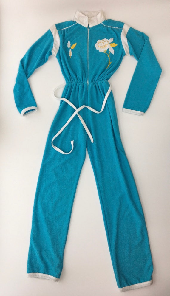 Vintage 1970's terry cloth blue white jumpsuit wit