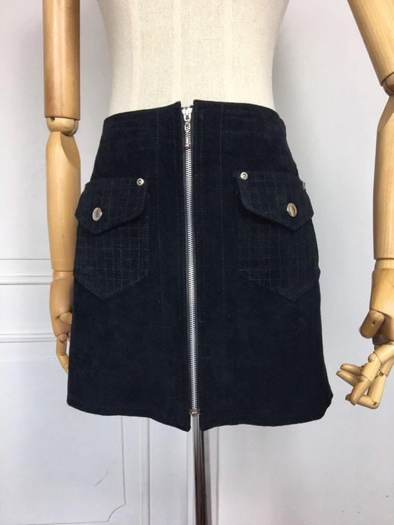 Vintage 1990's black suede leather mini skirt with