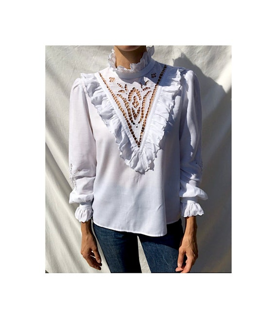 Vintage white ruffle romantic lace blouse, victor… - image 1