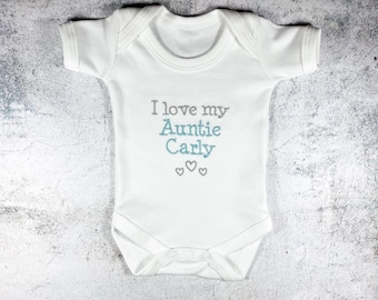 PERSONALISED BABY VEST GROW BODY SUIT I LOVE MY AUNTIE//UNCLE NEW MUM SHOWER GIFT