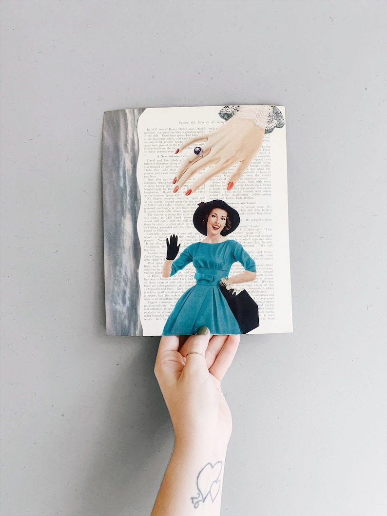 Lady in Blue original 8x10 collage