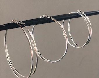 925 Sterling Silver Large Hoop Earrings Lightweight 50mm- 60mm- 70mm- 80mm Oversized Silver Hoops