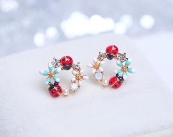 Sweet Colourful Flower Stud Earrings Cute Crystal Ladybug Earrings Charm ,Jewelry Gifts Ladybug earrings Flowers Earrings