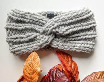 Womens knit headband, warm winter headband   HANDMADE – 100% wool   Twist Knit Headband in Silver Grey