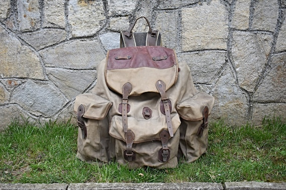 Vintage backpack, Military Backpack, Canvas backpa