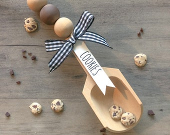 Tiered tray decor wooden bead garland for tiered tray or Rae Dunn display Wooden mini Scoop for canister Coffee Bar Farmhouse tea scoop