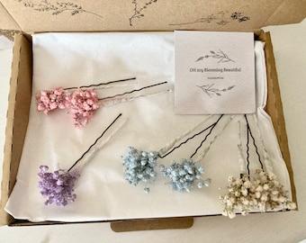 Baby Breath hair pins-Gypsophila hair pins-Dried flowers hair accessory- Bridal hair-Bridesmaids hair pins-Flower girl hair accessory
