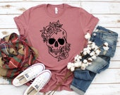 Day Of The Dead Fashion, Sugar Skull Flower Crown, Halloween Costume, Dia De Los Muertos, Fall Shirt, Unisex Graphic Tee,Floral Skull Shirt