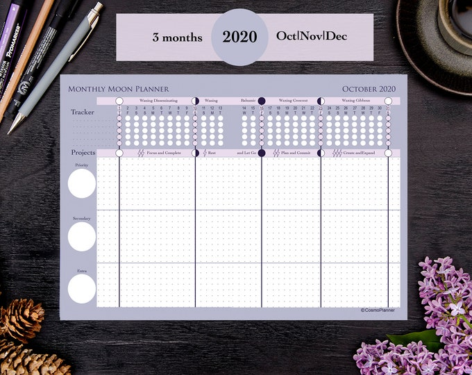 2020 Printable Moon Planner Monthly October November December | Moon phases | Astrology | Weekly | Dated | Instant Download