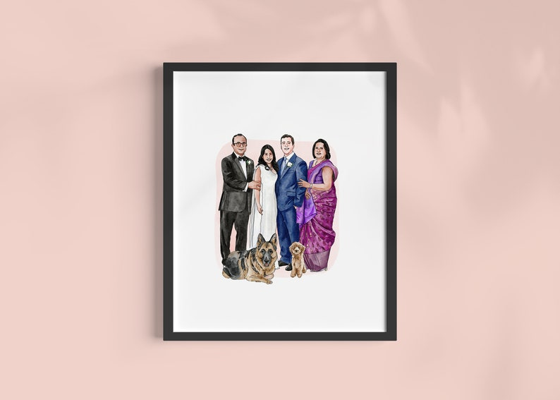 CUSTOM Family Portrait  Personalized Anniversary /& Wedding Gift  For Mum Dad Son Daughter Sister Brother  Pet Illustration Watercolor