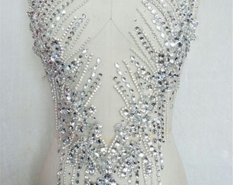 Handmade Beaded Applique for Bridal Bodice Prom Gown Applique Pearl Applique By The Piece Rhinestone Applique Wedding Dress Patch