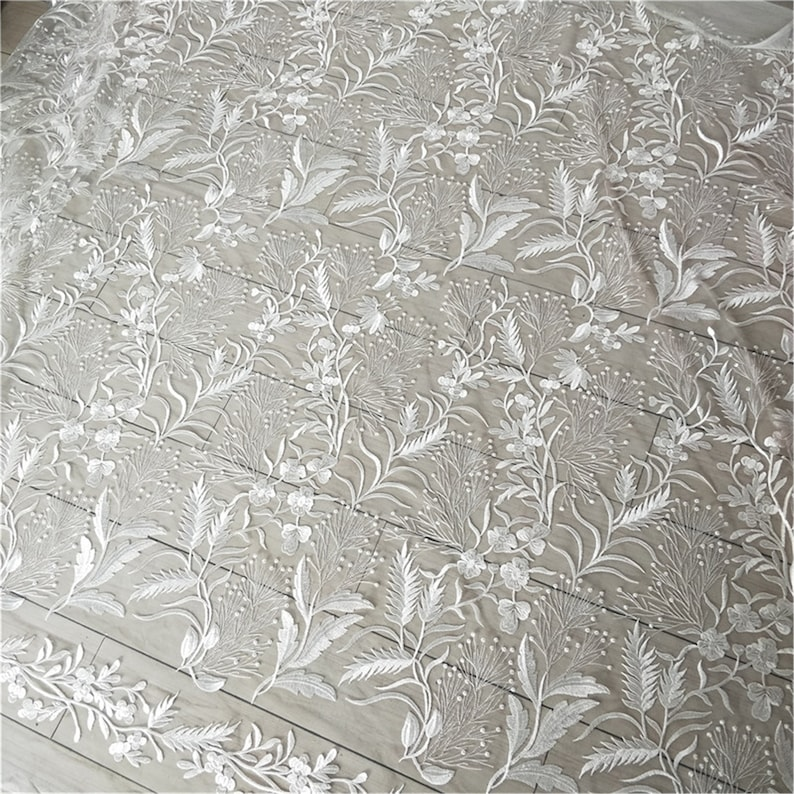 Wedding Dress Fabric Sell By The Yard Tulle Embroidered Lace Fabric Bridal Gown Floral Lace Embroidery Lace Fabric