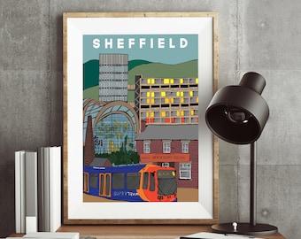 Sheffield Landmarks Poster - Yorkshire artwork, South Yorkshire, Henderson's Relish, Park Hill