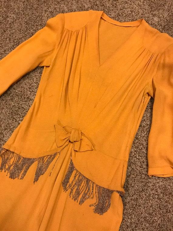 1940s rayon fringed dress