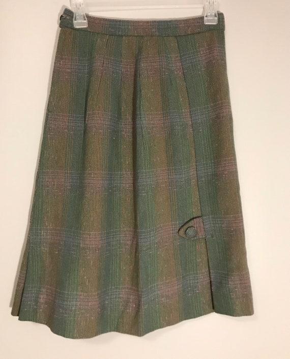 1940s wool plaid skirt