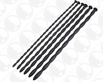 Ribbed silicone penis sounding rods 6 different sizes