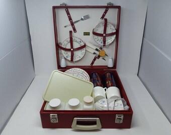 Vtg Brexton Picnic Set in Red Suitcase Picnic Hamper