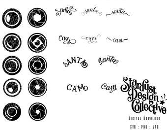 Santa Cam, SVG bundle, Christmas ornament, DIY camera, Lens, vinyl transfer, printable, waterslide, craft file, jpg, png, cricut, silhouette