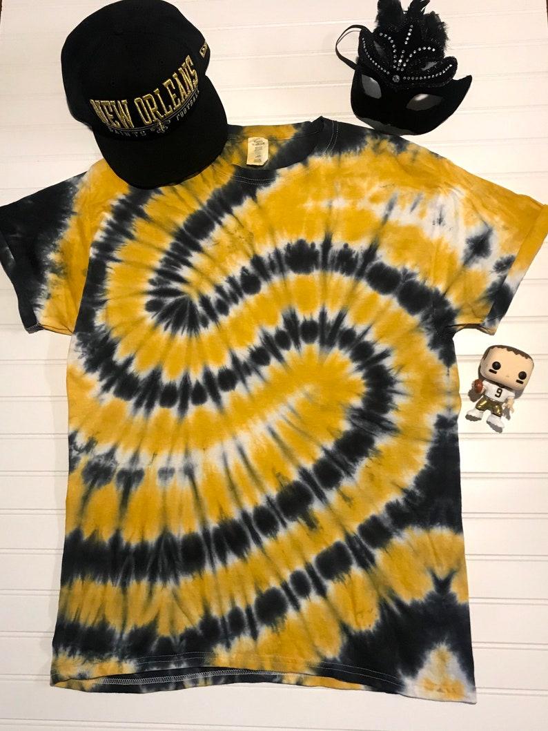 Black /& Gold Saints tie dye tee
