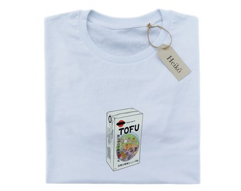 Heiko 'Tofu time' | 100% organic cotton T-shirt | High quality, sustainable, vegan approved | Unisex | White, blue, pink
