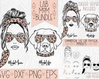 Lab Dog Mom SVG Design Bundle, Labrador Retriever Sublimation and Cut files, Leopard Print Sunglasses Dog Mom Png Clip Art