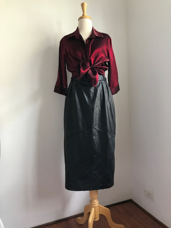 Luxurious Satin Ruby Red Blouse