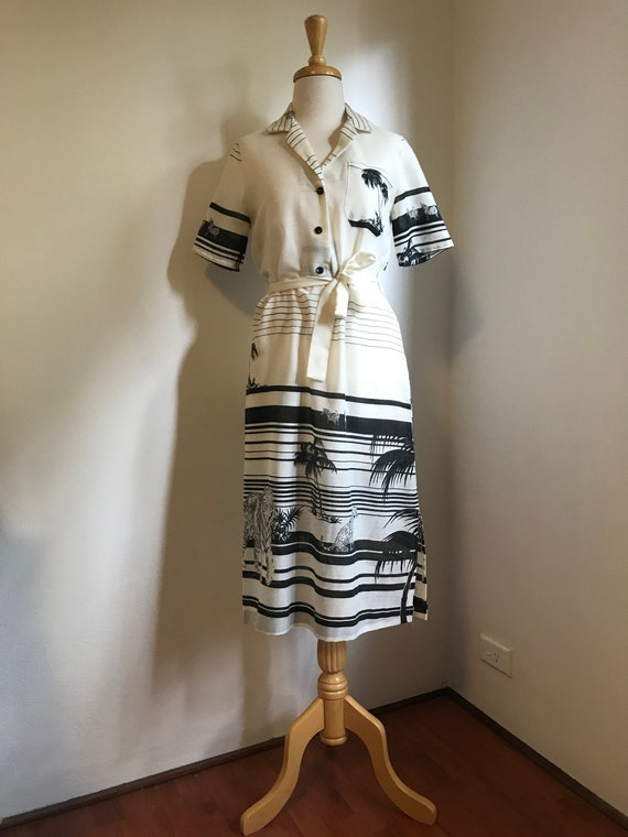 Gucci Style Vintage Linen Tshirt Dress with Black