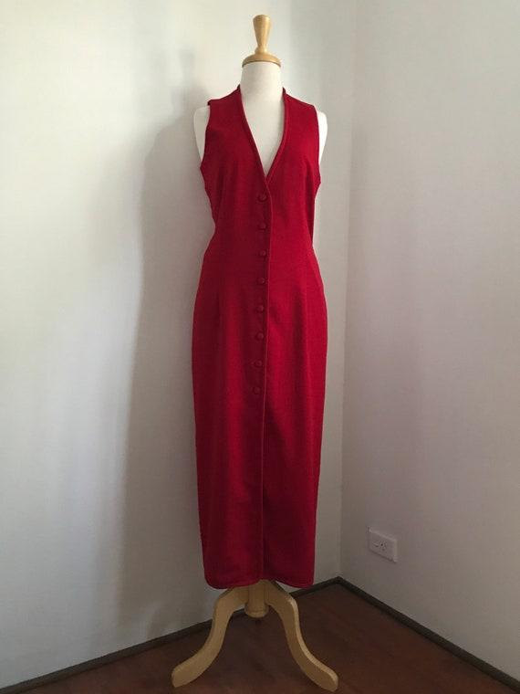 Red Scanlan Theodore Button Up Dress