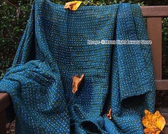 Indigo Kantha Quilt Handmade Throw Hand Stitched Cotton Blanket Kantha Bedspread Reversible Quilt Bedcover Twin Assorted Boho Blanket