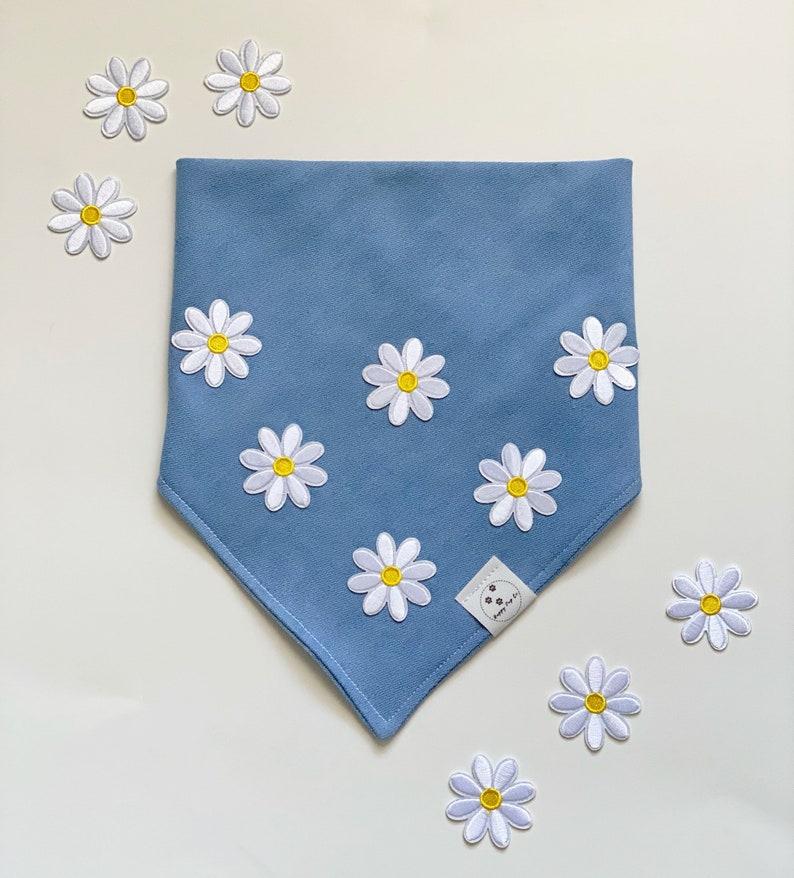 daisies Demin Pet Bandana Cute Daisy white flower Soft Dog Flowers Spring