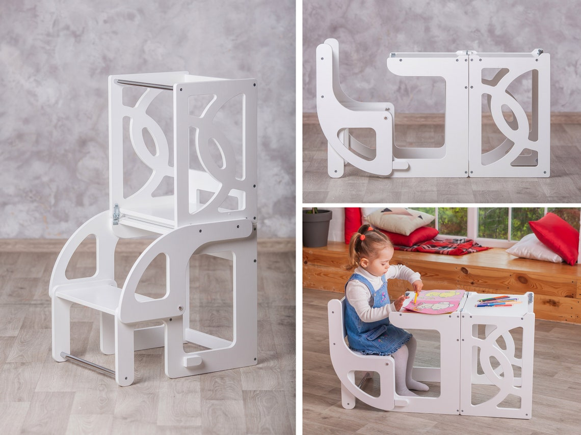Montessori learning tower Table & Chair, toddler learning tower, kids table, kitchen step stool, kitchen helper tower, toddler helper tower